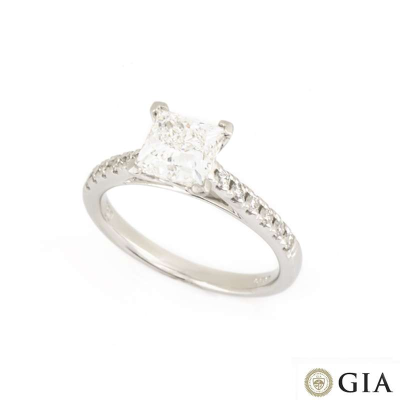 18k White Gold Princess Cut Diamond Ring 1.51ct F/VS1